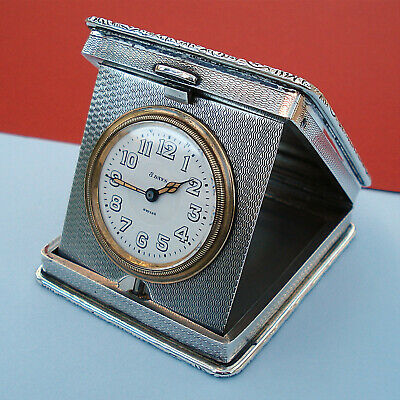 Antique Silver Travelling Folding Purse Watch/Clock Wb&S Birm.1925 8-Day Swiss