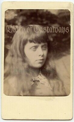 Beautiful Ethereal Young Girl Long Hair Original Antique CVD Photo