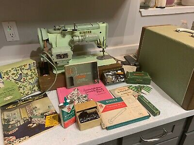 Vintage Singer 319W Sewing Machine With Case And Spare Parts Electric Scissors