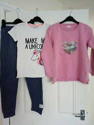 Girls Unicorn Outfit Next Jumper And Jogging bottoms & Matalan Top 9-10 Years