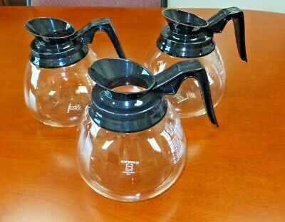 3 ~ Coffee Pot/Decanter/Carafe ~ Black 64 oz for Commercial BUNN Machines - NEW