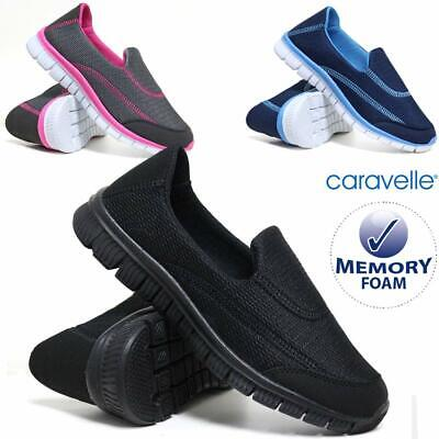Ladies Get Fit Slip On Memory Foam Pumps Go Walking Gym Fitness Trainers Shoes