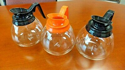 Coffee Pot/Decanter Blk/Org 64oz Commercial Lot of 3 Coffee Pots for BUNN Brewer