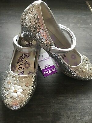 Lilley Sparkle Girls Silver Glitter Heeled Mary Jane Shoes Brand New Tags Size 3
