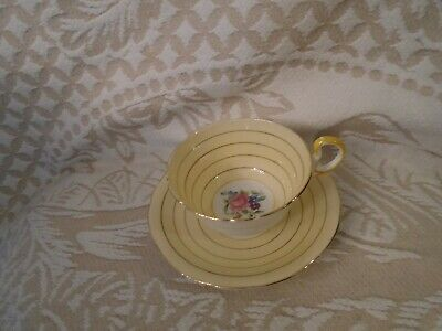 Aynsley Yellow Gold  Stripped Floral Fine China Teacup And Saucer Unique