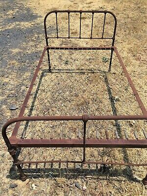 Antique Single Bed - Shearers / Hospital Bed - Old Cast Iron Single Bed
