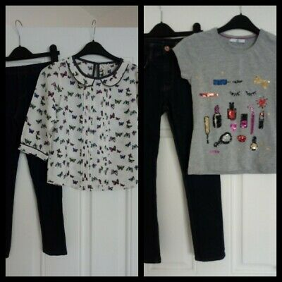 Girls Outfits bundle Next top/Primark Leggings & M&S Top/H&M Jeans 9-10 Years