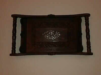 "Vintage Rosewood Hand Carved Wood Floral Inlay Serving Large Tray 18"" x 12"""
