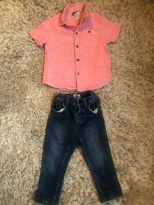 Next Boys Dark Skinny Jeans And Pink Linen Shirt. Size 12-18 Months