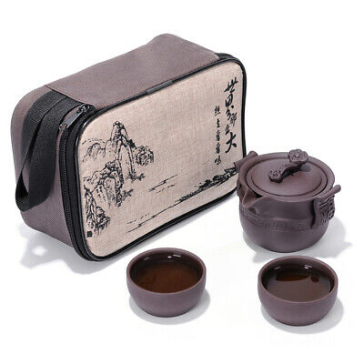 Travel Zisha Pottery Tea Set,Chinese Kungfu Yixing Clay Teapot and Tea Cups Gift