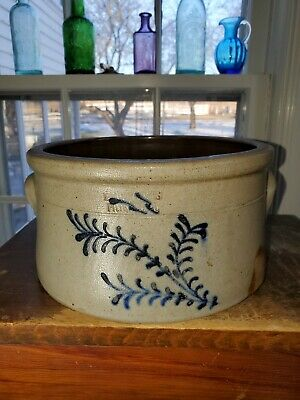 "Antique Primitive Salt Glazed Stoneware ""Evan B. Jones Pittston, PA."" Cake Crock"