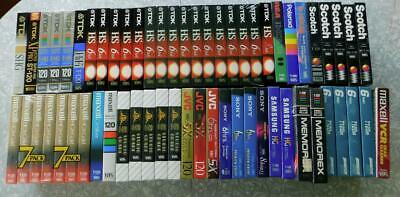 Lot of 59 High Grade Blank Sealed VHS Tapes TDK HS, Maxell HGX Gold + Premium +