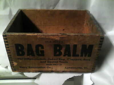Antique Advertising Wood Crate Box Bag Balm Dairy Assoc. Co. Lyndonville VT