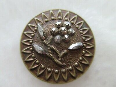 """*ANTIQUE 19thC~GORGEOUS FACETED CUT STEEL FLOWER~TINTED BRASS BUTTON~Almost 3/4"""""""