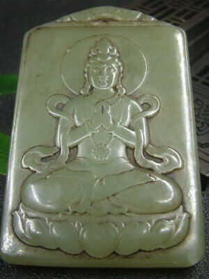 Chinese Antique Celadon Nephrite Hetian- OD Jade GUAN YIN Statues/Pendant897