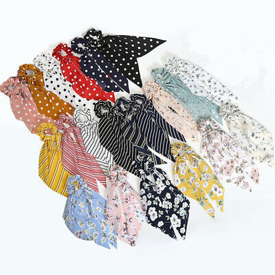 Fashion Dot Striped Floral Hair Scrunchie Bow Streamers Hair Ties Ponytail Ropes