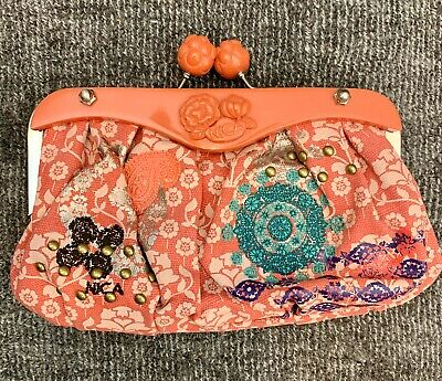 Nica Coral Embroidered Kiss Lock Clutch