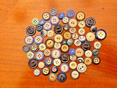 """Starter Collection of Blue China Buttons, 5/16""""-11/16"""",Calico, Bulls Eye,Whistle"""