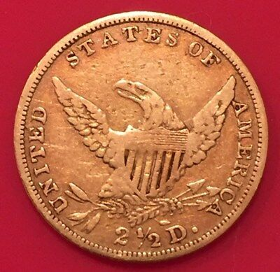 1835 Usa Gold Liberty 2 And A Half Dollar (2.5) Eagle Gold Coin