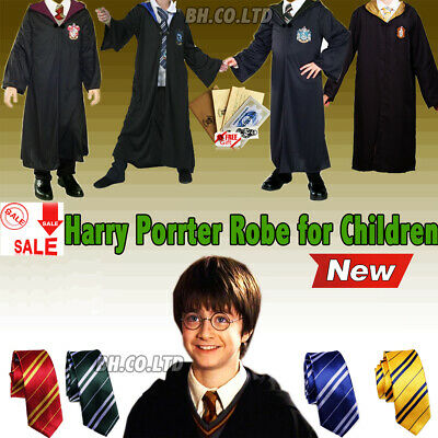Halloween Harry Potter Cosplay Costume Robe Cape Gryffindor Carnival Party Kids
