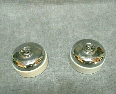 2 French vintage PORCELAIN & CHROME light SWITCHES