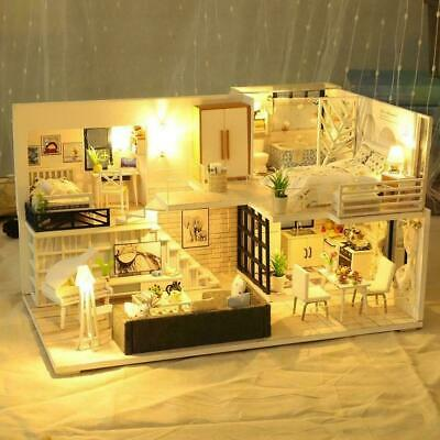 3D Wooden LED Dollhouse Miniature Furniture Doll House Kit DIY Toys Childre F0S8