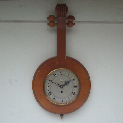 Vintage Smiths Novelty Wind Up Wall Clock in Shape of Banjo or Mandolin Repair