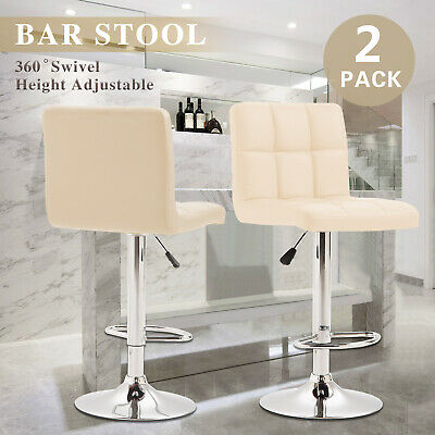 2 Bar Stools Swivel Chrome Gas Lift Kitchen Breakfast PU Leather Chair Cream