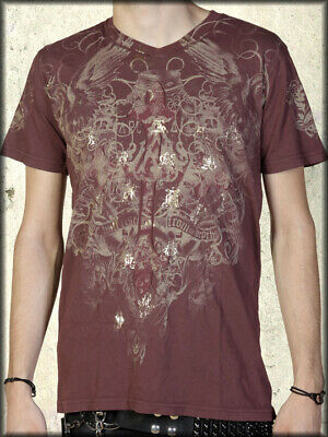 Archaic by Affliction Throwback Cross Gold Foil Mens T-Shirt Burgundy Red XL NEW