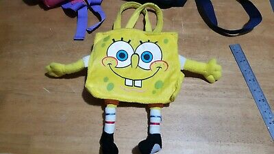 "SPONGEBOB FLUFFY HAND BAG YELLOW WITH TOP VELCRO FASTENING  8"" x 8"""