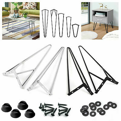 """Set of 4 Hairpin Table Desk Bench Legs & Protector Feet 2&3 Prong 8"""" 14"""" 16"""" 28"""""""