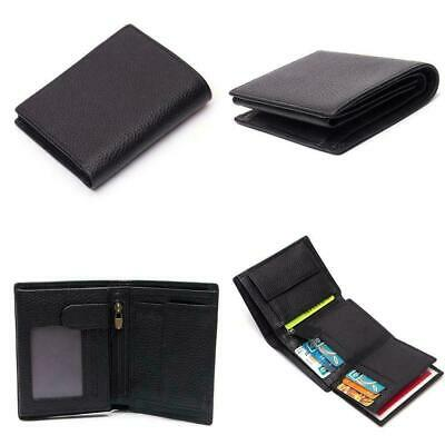 PU Leather Slim Wallets For Men Trifold Mens Wallet Blocking RFID Window ID I1O1