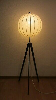 Flos Cocoon mid century Lampe Stehlampe Tripod Holz '60er