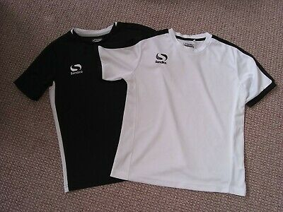 Sondico sports t shirts. Size 9-10 years, black and white.