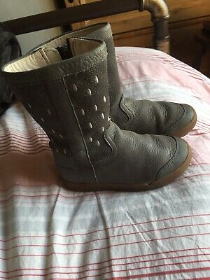 Clarks Grey Leather Boots Size 8.5G Infant