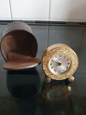 Vintage Swiza 8 Day Travelling Clock Leather Case Working