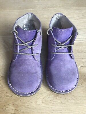 Hush Puppies *Infant Girls Suede Lilac Ankle Boot Shoes Uk Infant Size 11.5 Eu30