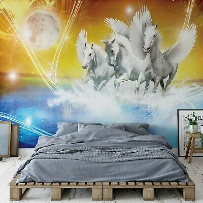 Winged Horses Pegasus Yellow And Blue Wallpaper Mural Fleece Easy-Install Paper