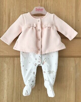 Ted Baker *Next Baby Girls Pink Designer Romper Outfit Age Newborn