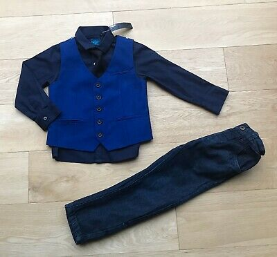 NEXT *2-3y BOYS SUIT - JEANS  & New SHIRT WAISTCOAT TIE JEANS OUTFIT 2-3 YEARS
