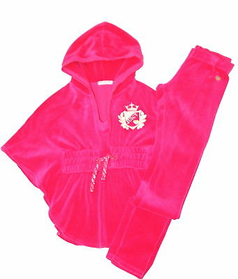 Juicy Couture Girls Sz 8 Butterfly Sleeve Velour Hooded Top & Tapered Pants