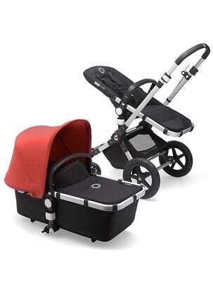 Bugaboo Cameleon Red Convertible Pushchair/ Pram w Rain Cover and Carrying Bag