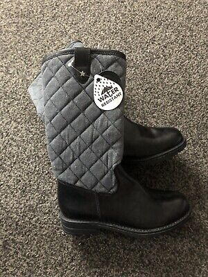 Lily & Dan Girls Real Leather And Fabric Fleece Lined Boots Size 13 Brand New