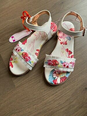 New Ted Baker Older Girls Frill Trim Floral Sandals Size UK 3 EU 36
