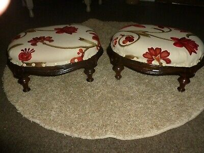 Pair antique victorian walnut footstools, oval carved Voyage red crewel work