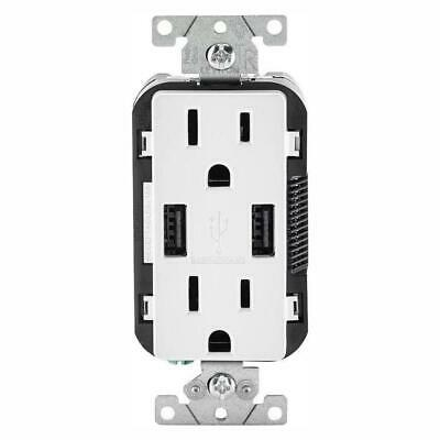 Leviton Electrical Outlet Receptacle 15 Amp USB Charger White (3-Pack)