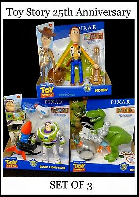Disney Pixar Toy Story 25th Anniversary Woody Buzz Rex Mattel 2020 Set In Stock!