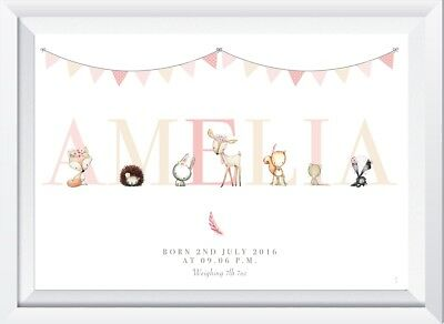 Personalised baby girl woodland animal print picture gift wall decor nursery art