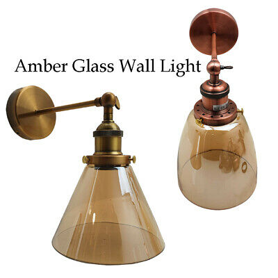 Industrial Retro Vintage Style Adjustable Glass Wall Light Sconce Lamp Fitting