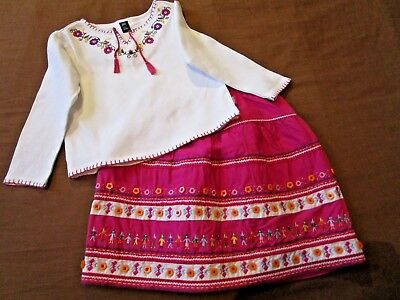 Designer Gap Girls Winter Outfit Age 4 5 Girls Lined Skirt & Top Pretty Hot Pink